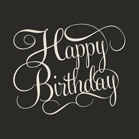 decorative card symbols: HAPPY BIRTHDAY hand lettering, handmade calligraphy