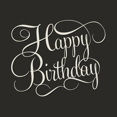 urodziny: URODZINY SZCZĘŚLIWY liternictwo ręcznie, ręcznie kaligrafii