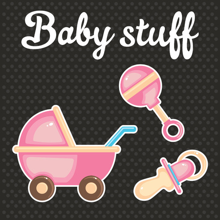 baby scrapbook: Baby scrapbook icon collection, toddler accessories concept Illustration