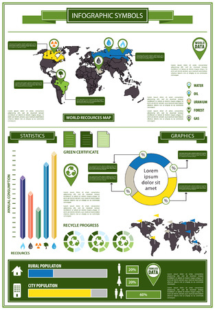 pollution water: Detail info graphic with ecological symbols