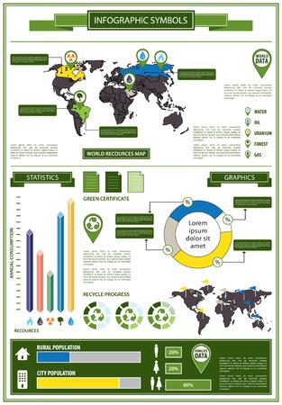 recourses: Info dettaglio grafico con simboli ecologici