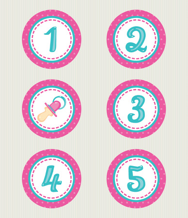 numbers icon: Baby scrapbook icon collection, toddler accessories and birthday numbers