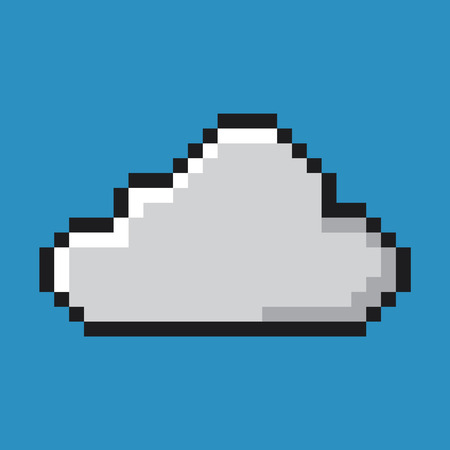 Cloud icon, pixel art. Network and computing concept. Illustration