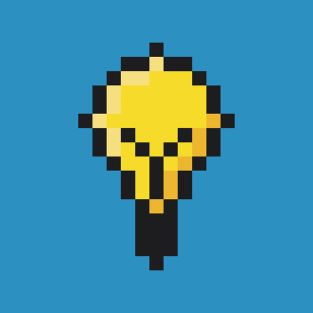 application recycle: Light bulb, pixel art. Illustration