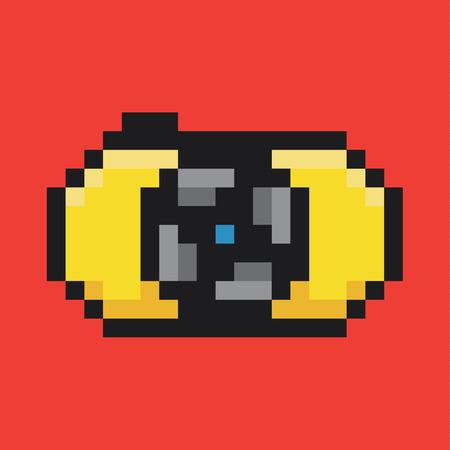 vector raster background: Camera icon pixel art