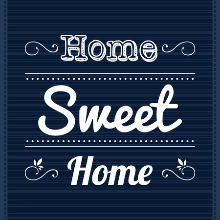 family home: Decorative template frame design with slogan Home Sweet Home Illustration