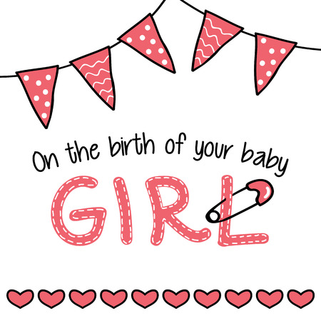 arrival: Greeting card for a baby girl arrival Illustration