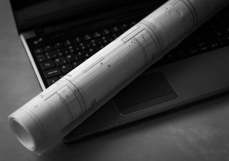 Architecture plan on laptop, architecture business concept