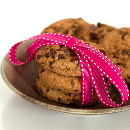 tied in: Chocolate chip cookies tied in a ribbon