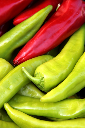 organic peppers: Organic peppers in a pile, bio market concept