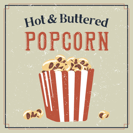 buttered: Retro styled poster with buttered popcorn in a bag Illustration