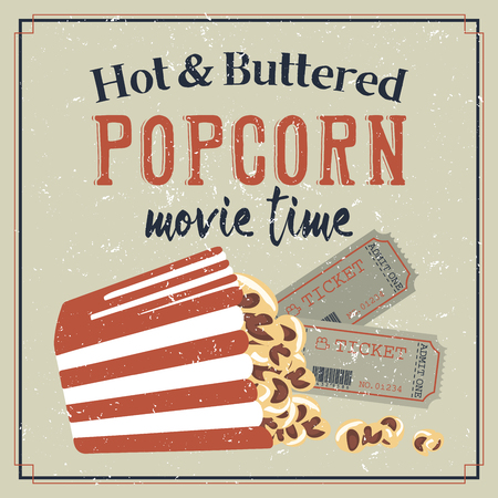 retro styled: Retro styled movie poster with popcorn Illustration