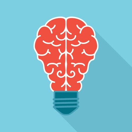 optimal: Light bulb with brain, flat icon design