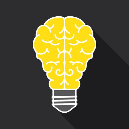 optimal: Light bulb with brain in dark