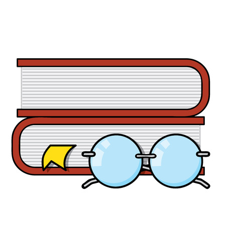 favorite number: Pile of books with page markers and reading glasses Illustration