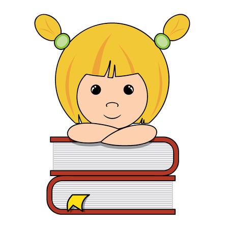 niña pensando: niña elegante que piensa en una pila de libros