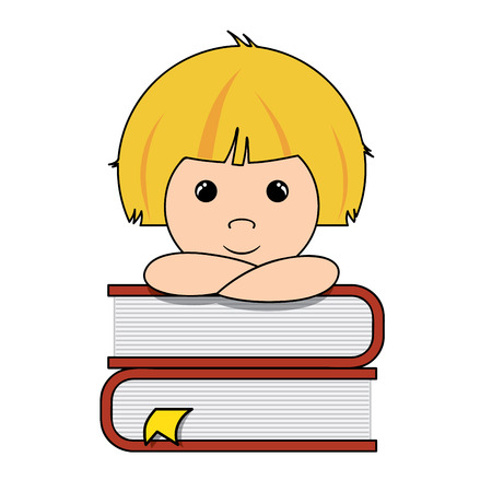 smart boy: Smart little boy thinking on a pile of books