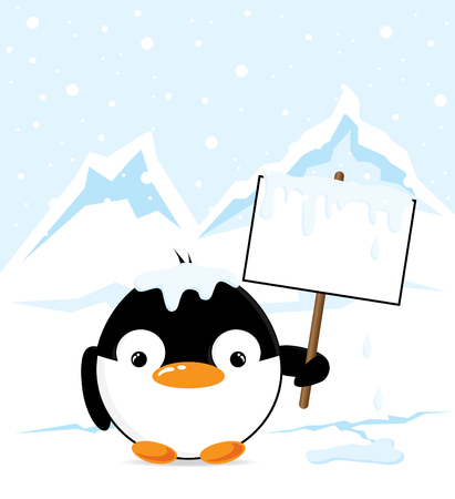 south pole: Penguin on the South Pole holding an empty sign