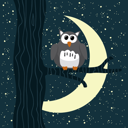 nocturnal: Owl sitting on a tree at starry night Illustration