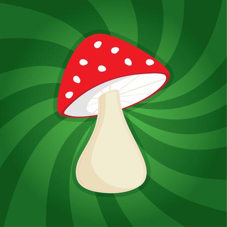 spores: Red mushroom on dynamic background Illustration