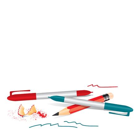 sharpener: Red pencil with sharpener trash and pens Illustration