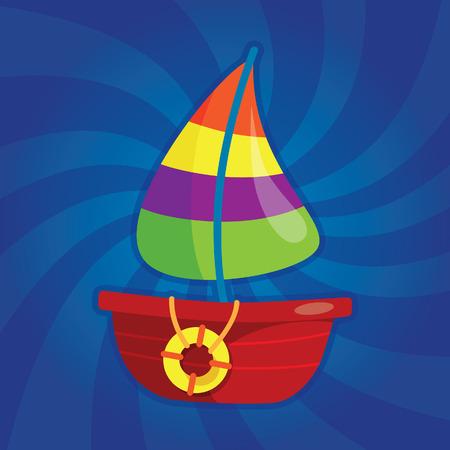 dynamic background: Cartoon fishing boat on dynamic background Illustration