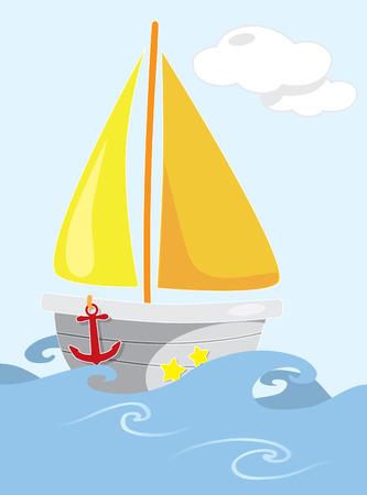 open sea: Cartoon sailing boat on open sea