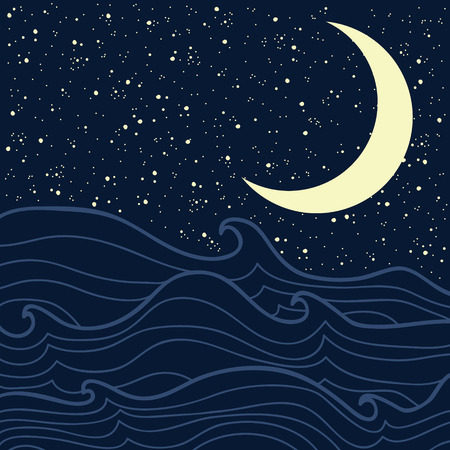 open sea: Open sea with waves and starry night sky Illustration