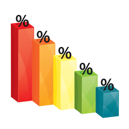 an overview: Business colorful graph, percentage overview concept Illustration