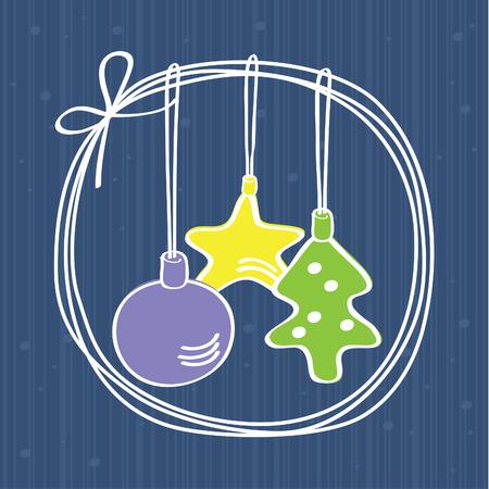 seasonal greeting: Christmas decorations card with snowflakes and tree decorations, seasonal greeting card