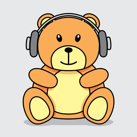 cartoon bear: Little brown teddy bear with headphones listening to music