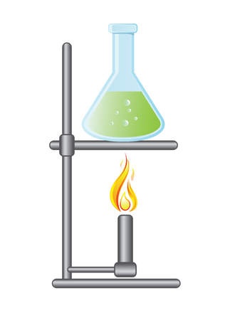 bunsen burner: Medical test bottle on Bunsen burner Illustration