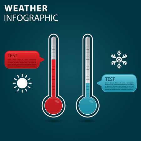 thermometer: Weather info graphic, thermometer with scale measuring heat and cold Illustration