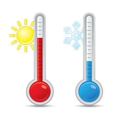 thermometer: Termómetro con el calor de medición escala y frío Vectores