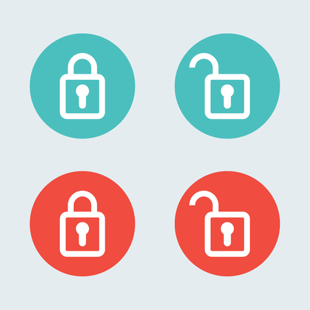mode: Lock flat icon design. Open and close mode.