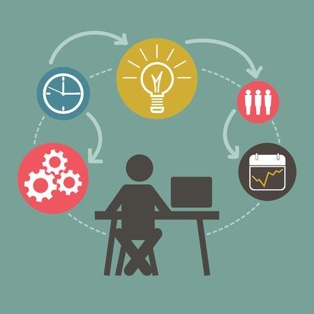 redes de mercadeo: Info Esquema gráfico con el empresario. Empleado concepto de modelo de negocio, el resumen de datos.