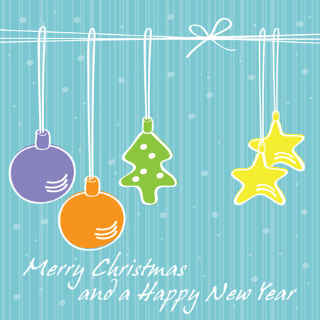 seasonal greeting: Elegant Christmas decorations with snowflakes, seasonal greeting card