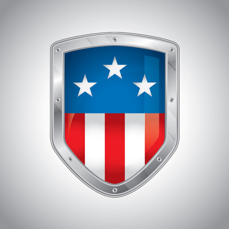 Security shield with american flag