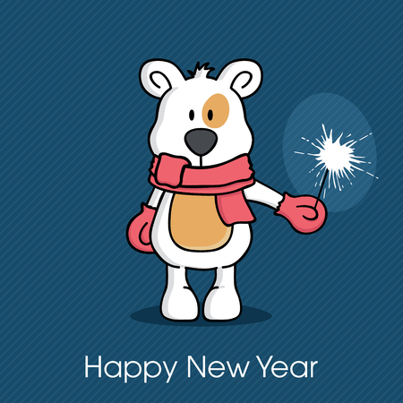 season       greetings: Christmas bear holding a sparkler, New Year and Christmas season greetings
