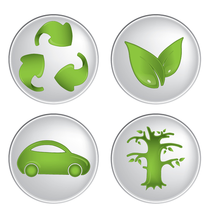 antipollution: Ecology icons vector set Illustration