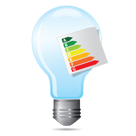 energy consumption: Energy saving certificate concept, light bulb energy consumption concept Illustration