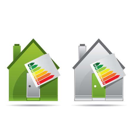 green building: Energy saving certificate concept, green building concept Illustration