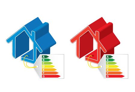 hot cold: Energy saving certificate concept, cold and hot building concept