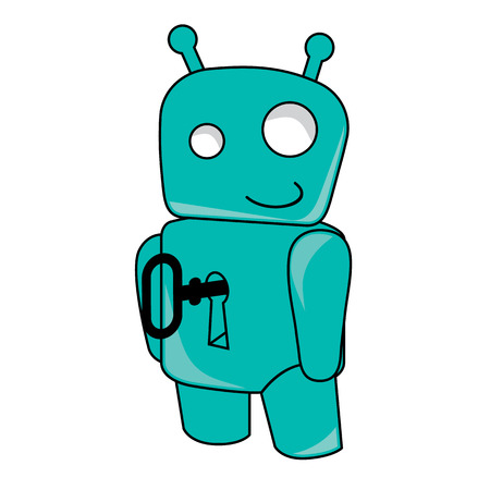 key hole: Smiling robot toy with key in the hole Illustration