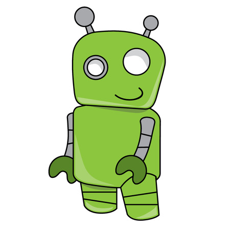 robot with shield: Smiling friendly green robot toy Illustration
