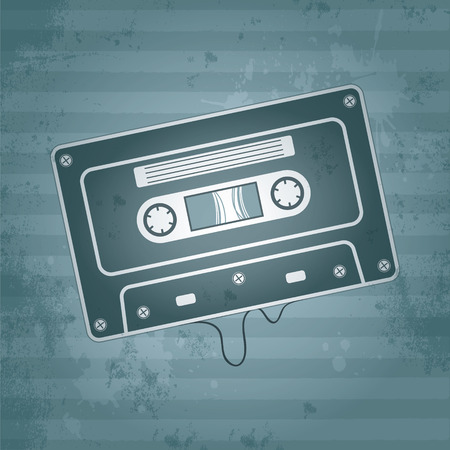 cassette tape: Music audio cassette on old retro background Illustration