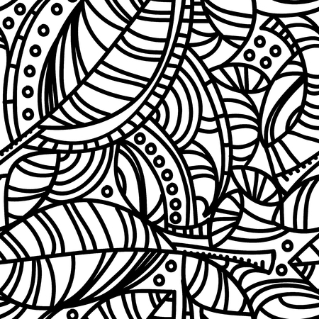 curved lines: Abstract organic composition with leaves and curved lines