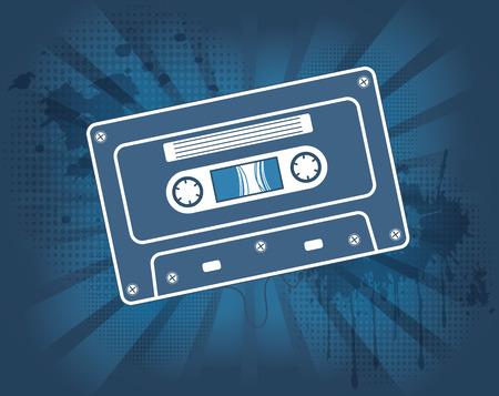 audio cassette: Music audio cassette on dynamic background