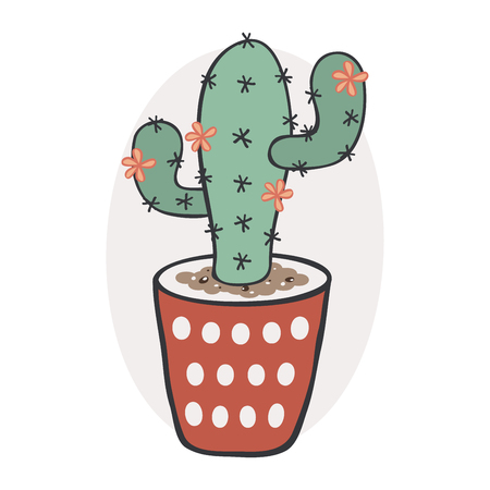 Cactus with flowers in a pot Illustration