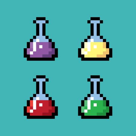 elixir: Medical chemical bottles in pixel style Illustration